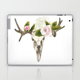 Bohemian deer skull and antlers with flowers Laptop & iPad Skin