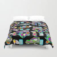 sneakers Duvet Covers featuring Diamonds and Sneakers by Gabriel J Galvan