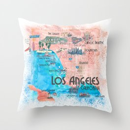 Los Angeles California Illustrated Travel Map with Main Roads, Landmarks and Highlights Throw Pillow