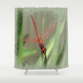 Beautiful Red Skimmer or Firecracker Dragonfly Shower Curtain