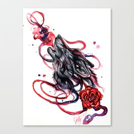Howling Wolf and Rose Canvas Print