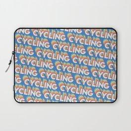 Cycling Trendy Rainbow Text Pattern (Blue) Laptop Sleeve