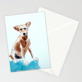 A Mutt in Blue Dog Portrait Stationery Cards
