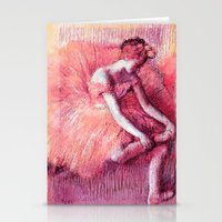 degas Stationery Cards featuring Ballerina Peach by PureVintageLove