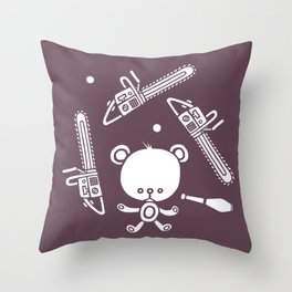 Cute Teddy Juggling 2 Balls, 3 Chainsaws and Club Throw Pillow