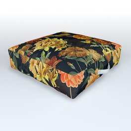 Vintage & Shabby Chic - Autumnal Flower Pattern On Blue Outdoor Floor Cushion