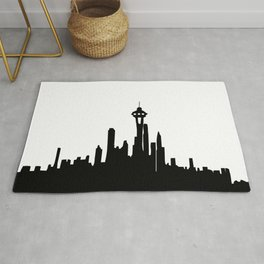 Seattle City Skyline in Black and white Rug