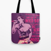 iggy Tote Bags featuring Iggy Pop by Stan Pro