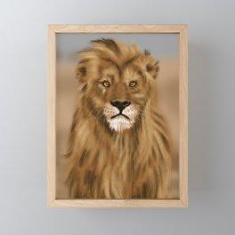 Hand Painted Lion Framed Mini Art Print