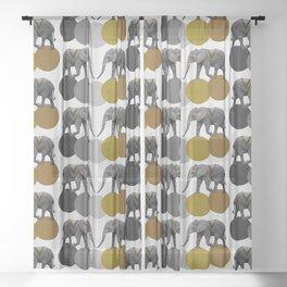 Tribal Elephants Sheer Curtain