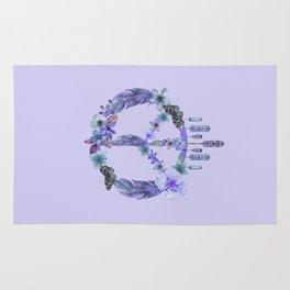 Purple Watercolor Peace Symbol Floral Dreamcatcher Rug