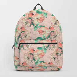 Pretty Watercolor Pink Peach Floral Girly Design Backpack