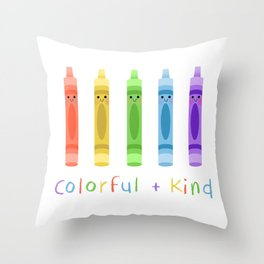 Colorful and Kind Crayons Throw Pillow