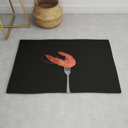 Fork with shrimps black Rug