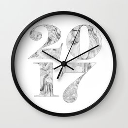 2017 Year sign Marble, Black & white, Numbers art, Numerical Wall Clock