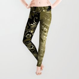 Metallic gold vintage floral damask Leggings