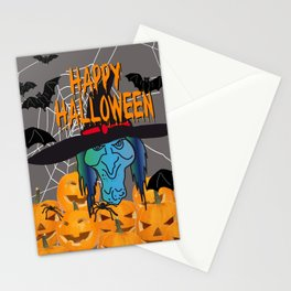 Bats & Witch Happy Halloween Stationery Cards