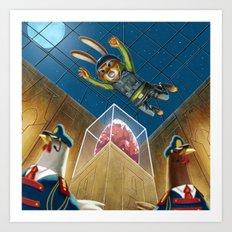 Bunny Burgling the Jeweled Egg of Ahen-Clucks Art Print