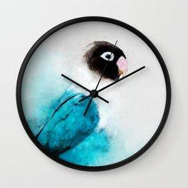 Masked Lovebird, Black-masked Lovebird, Collared Lovebird (Agapornis personatus)  Blue Parrot Bird Wall Clock