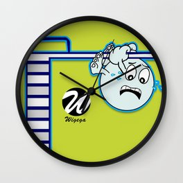 Diver Cartoon Character Holding to Springboard Wall Clock