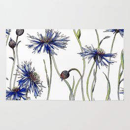 Blue Cornflowers, Illustration Rug