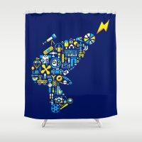 peanuts Shower Curtains featuring BLASTER BOY by PEANUTS TASTE
