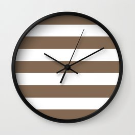 Pastel brown - solid color - white stripes pattern Wall Clock