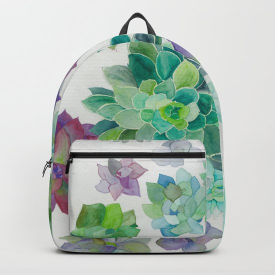 Watercolor Succulents Backpack