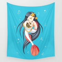 little mermaid Wall Tapestries featuring Mermaid by Freeminds