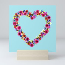 Flower Heart Wreath Mini Art Print