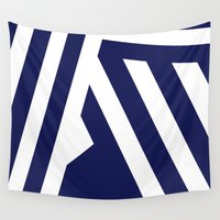 decal Wall Tapestries featuring Nautical Stripes by Charlene McCoy