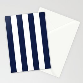 Navy Blue Stripes Vertical Stationery Cards