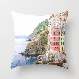 Colorful Cinque Terre, Italy, View of Riomaggiore Throw Pillow