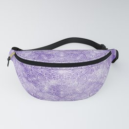 White Mandala on a Blue Watercolour Background Fanny Pack