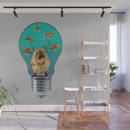 Bulb with Mouse and goldfishes Wall Mural