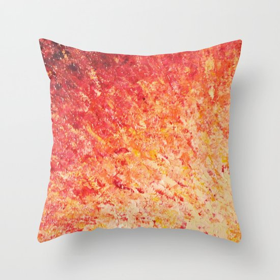 SAILOR'S SUNRISE - Beautiful Modern Abstract Crimson and Pink Nature Sky Sunset Ocean Reflection Throw Pillow
