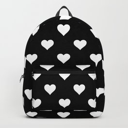 Simple Monochrome Hearts Pattern - White On Black Backpack