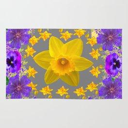 ULTRA VIOLET PURPLE & YELLOW FLOWERS ART DESIGN Rug