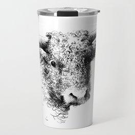 Hand drawn bull, cow, bison, bufalo head portrait   Travel Mug