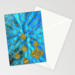 Blue Aqua Turquoise And Gold Glitter Mermaid Scales -Beautiful Mermaidscales Pattern Stationery Cards