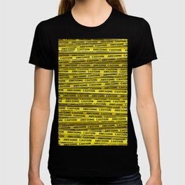 AWESOME, use caution / 3D render of awesome warning tape T-shirt