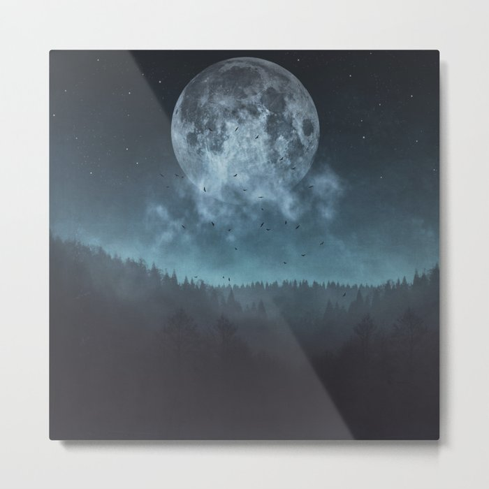 Moon over Trees Metal Print
