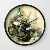 motorbike Wall Clocks featuring Slimedog Motorbike  by danielbrunkert