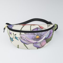 Bees & Flowers Watercolour Pattern Fanny Pack