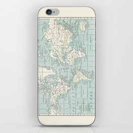 World Map in Blue and Cream iPhone Skin