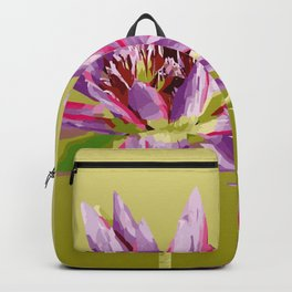 Water Lilies violet green Backpack