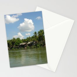 Village in the Tropical Jungle on the Mekong River Stationery Cards