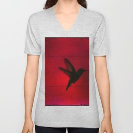 Hummingbird Behind the Red Blinds by CheyAnne Sexton Unisex V-Neck