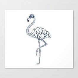 Navy Blue Flamingo Canvas Print