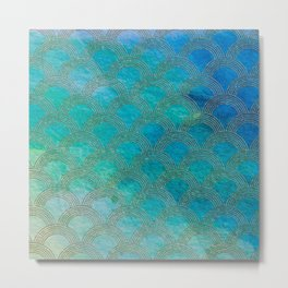 Sea Ocean Waves effect- Gold and Aqua Scales Pattern Metal Print
